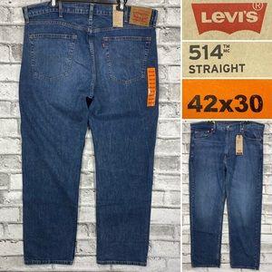 NWT Levis 514 Straight 42 x 30 Medium Wash Jeans